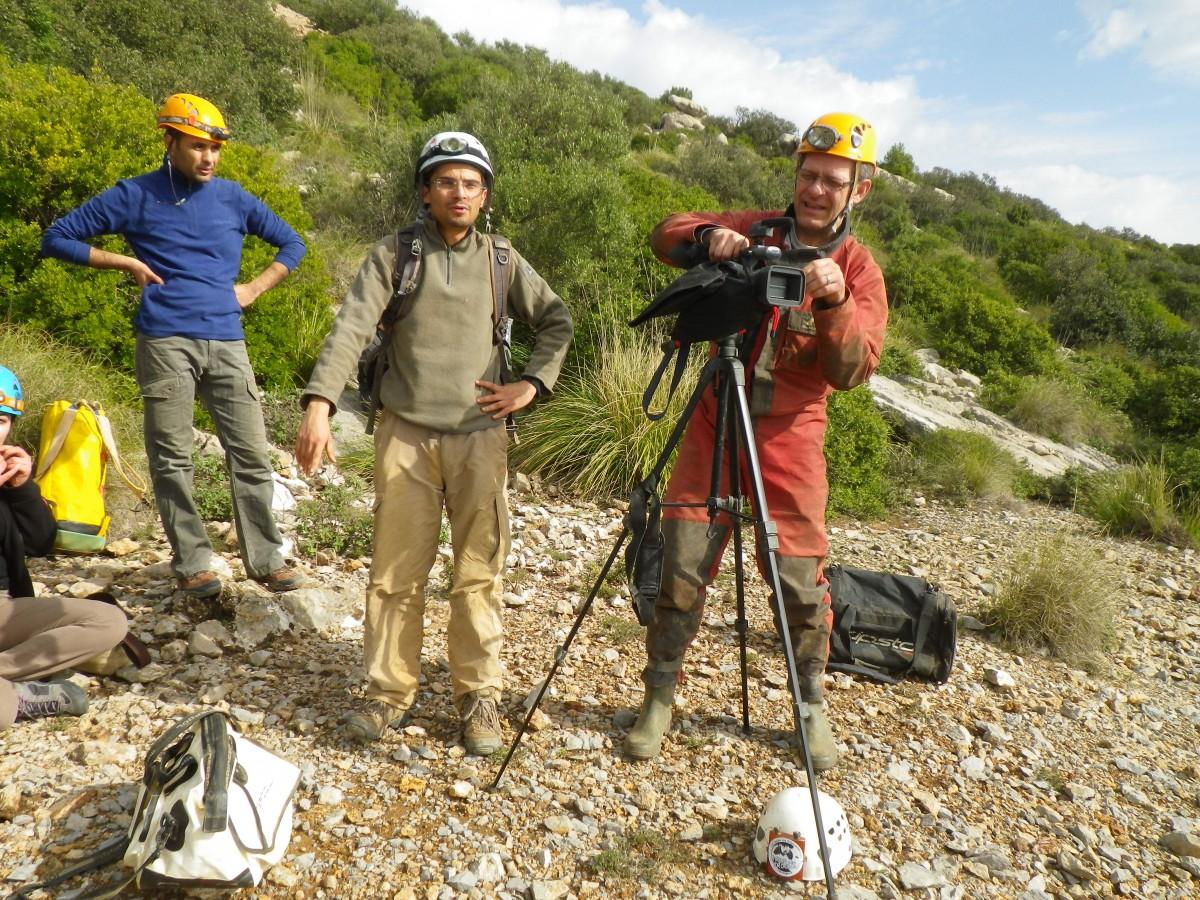 Tournage du film sur la grotte de la mine