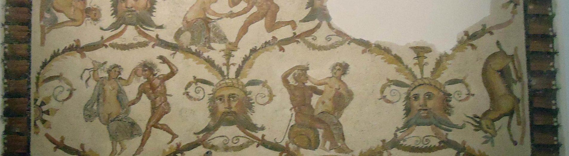 La mosaïque des ébats amoureux d'un Satyre et d'une Bacchante