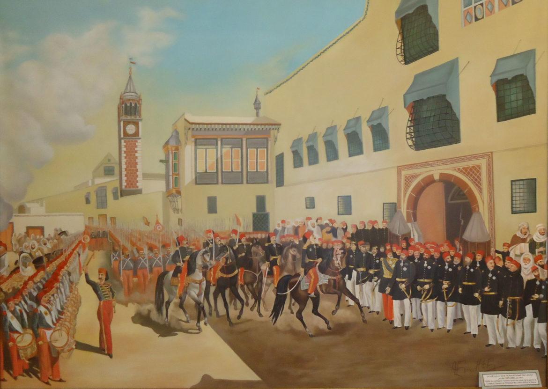استعراض البعثة العسكرية التونسية بعد عودتها من حرب القرم أمام قصر تاج بالمرسى